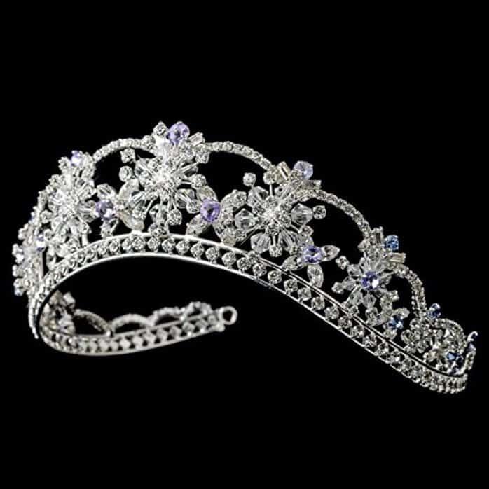 Nicole Swarovski Crystal Light Blue & Amethyst Wedding Bridal Tiara