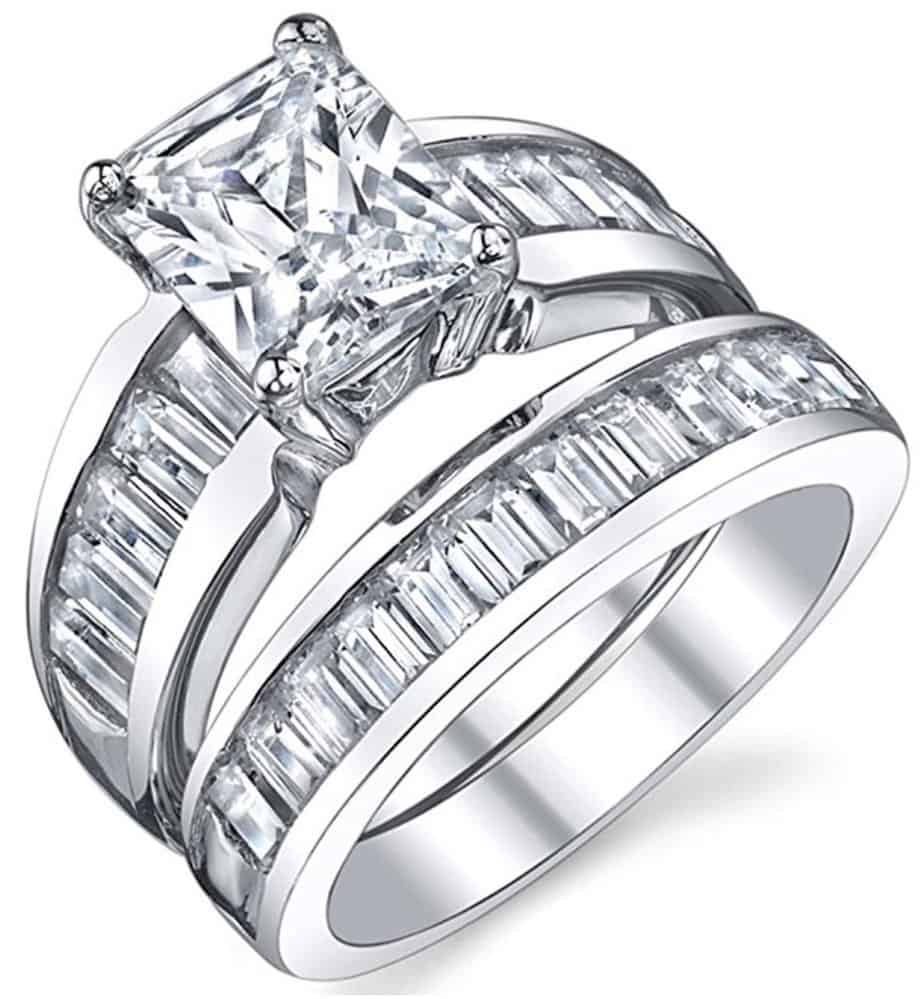 Radiant Cut Cubic Zirconia Cz Engagement Rings For Women