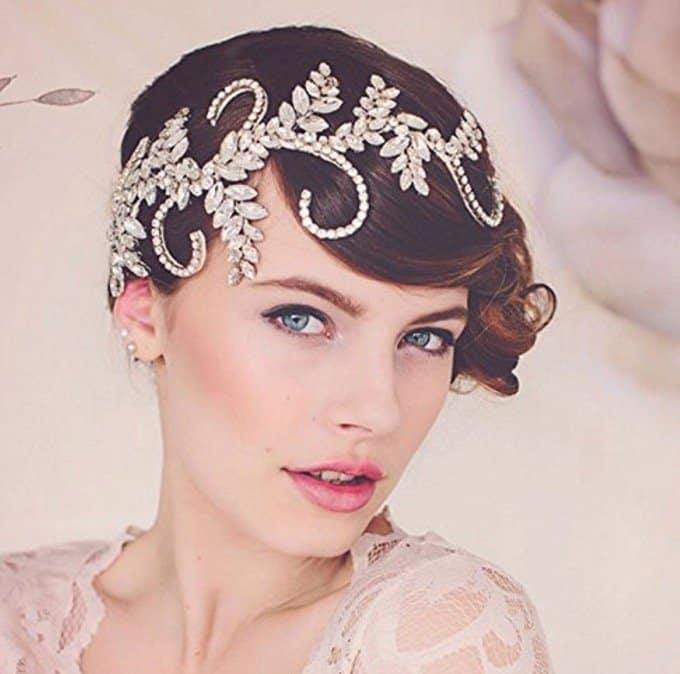 Venusvi Wedding Headbands for Bride - Bridal Headpiece with Bead and Rhinestones