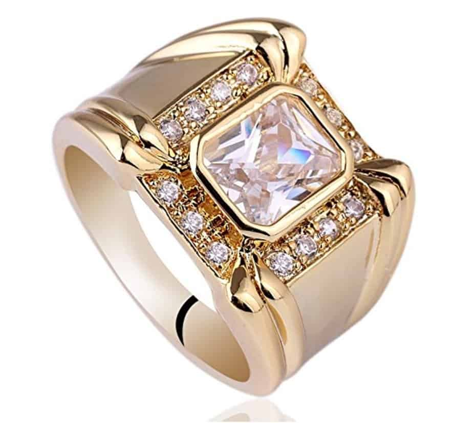 Radiant Cut Cubic Zirconia CZ Engagement Rings for Men
