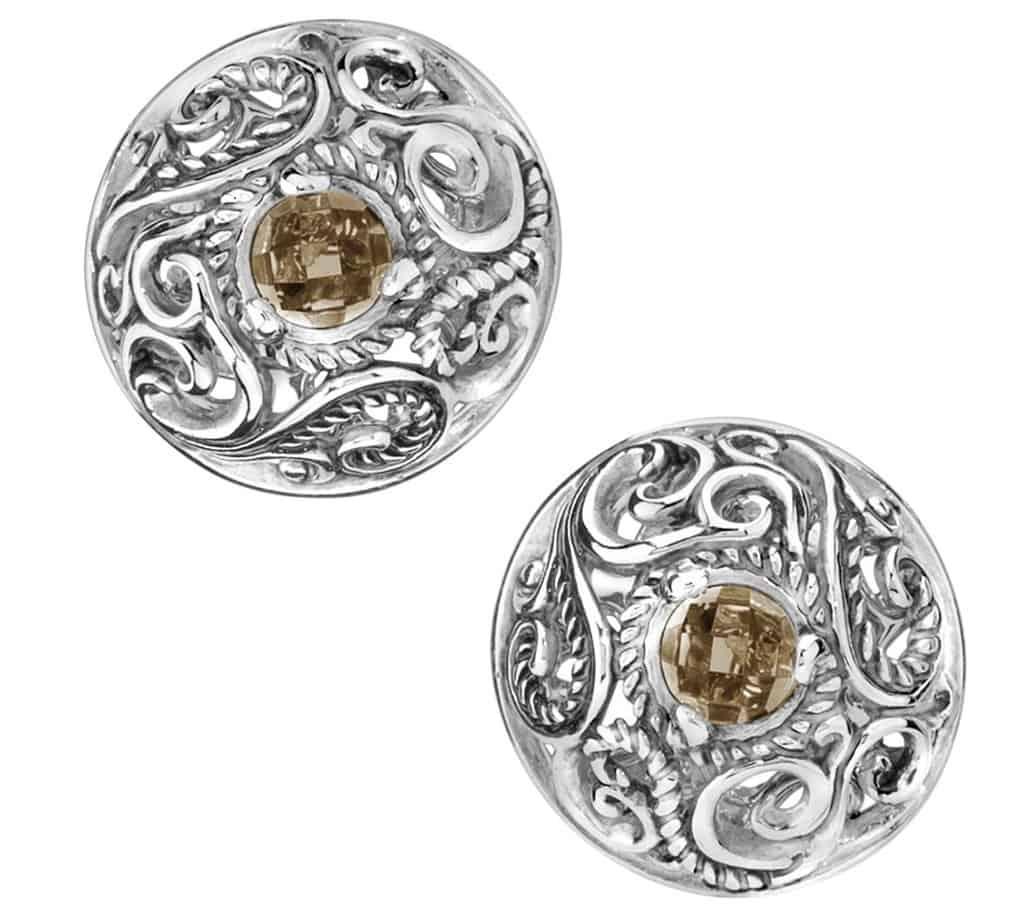 carolyn pollack Smoky Quartz Button Earrings