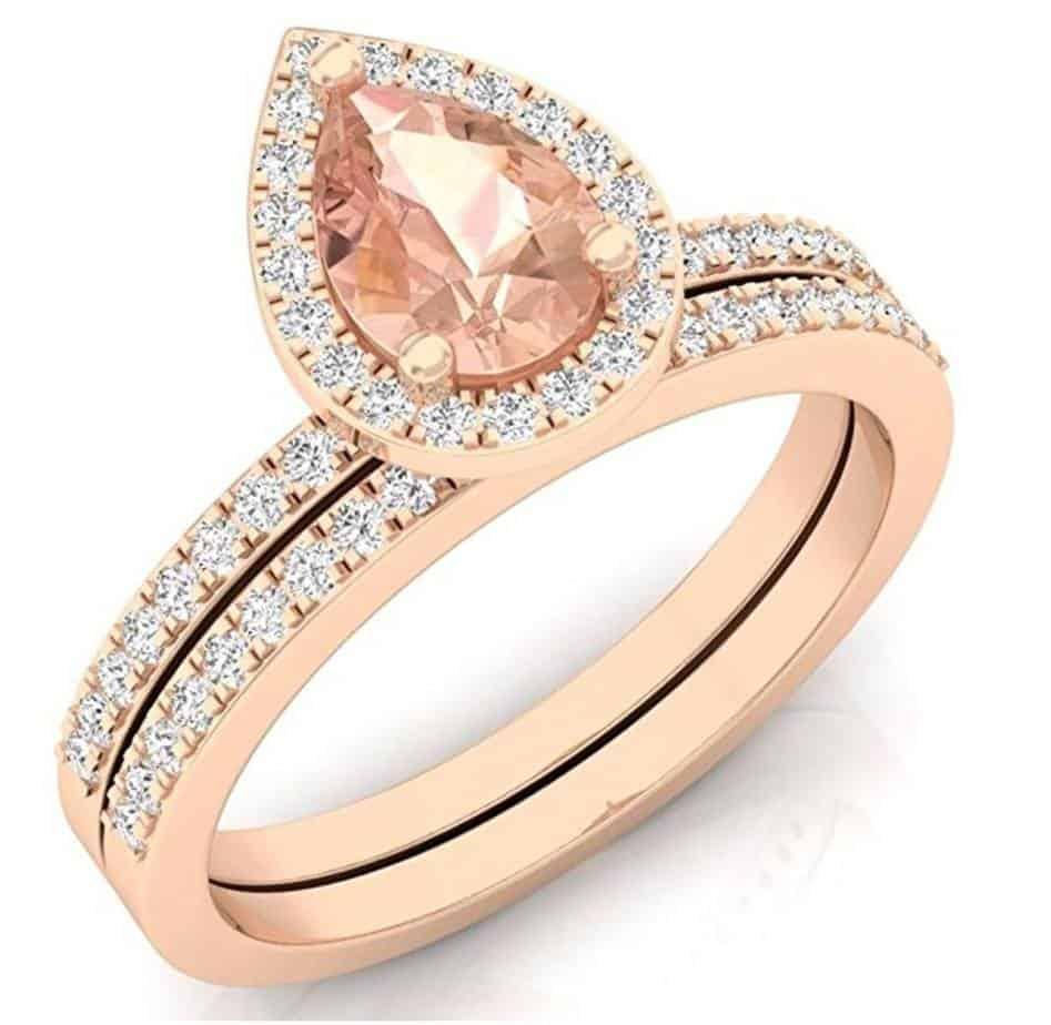 10K Rose Gold Pear Cut Morganite & Round Cut White Diamond Ladies Bridal Halo Engagement Ring Set