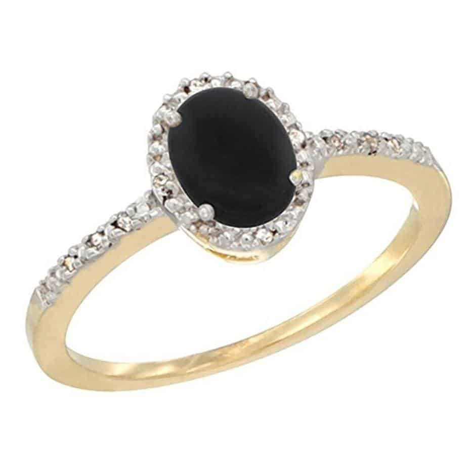 14K White Gold Diamond Natural Black Onyx Engagement Ring Oval 7x5 mm, sizes 5 - 10