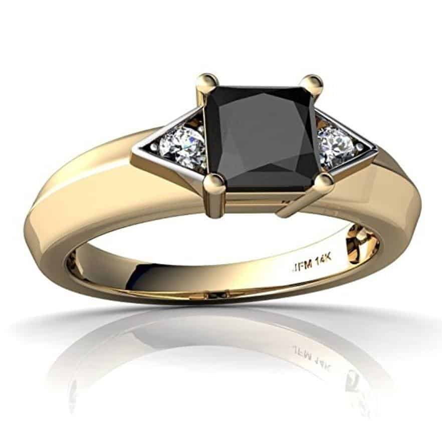 14kt Gold Black Onyx and Diamond 5mm Square Art Deco Ring