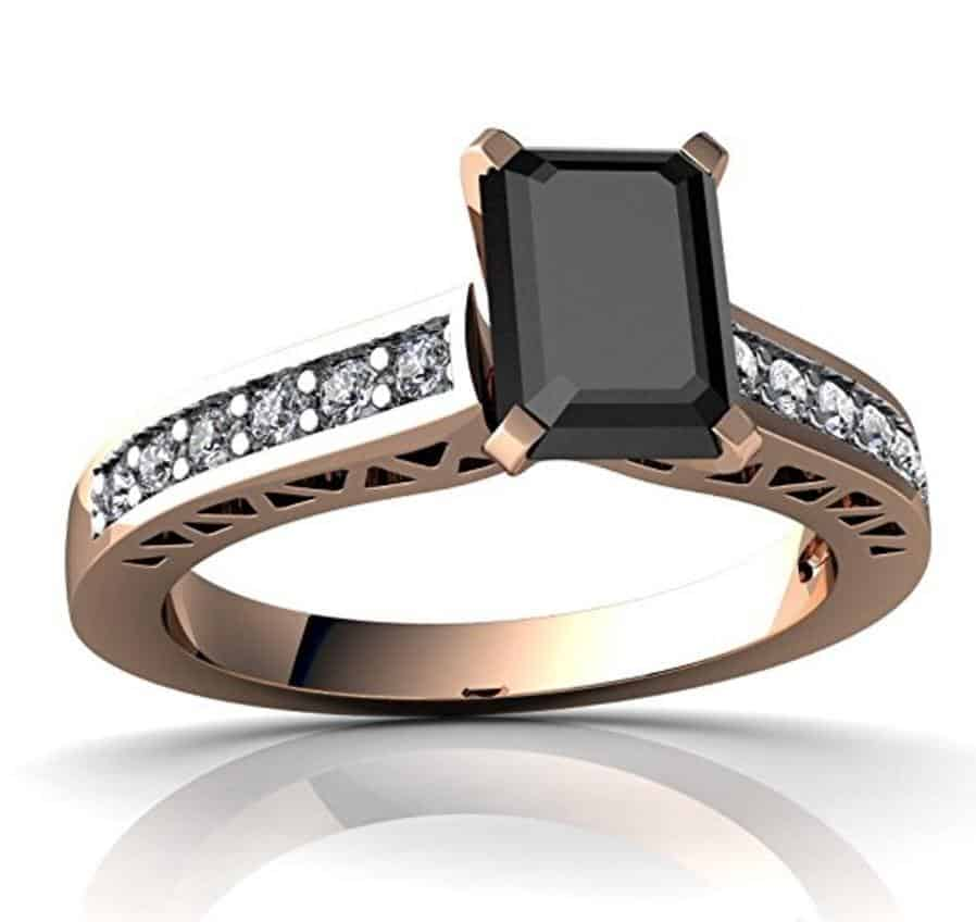 14kt Gold Black Onyx and Diamond 7x5mm Emerald_Cut Art Deco Ring