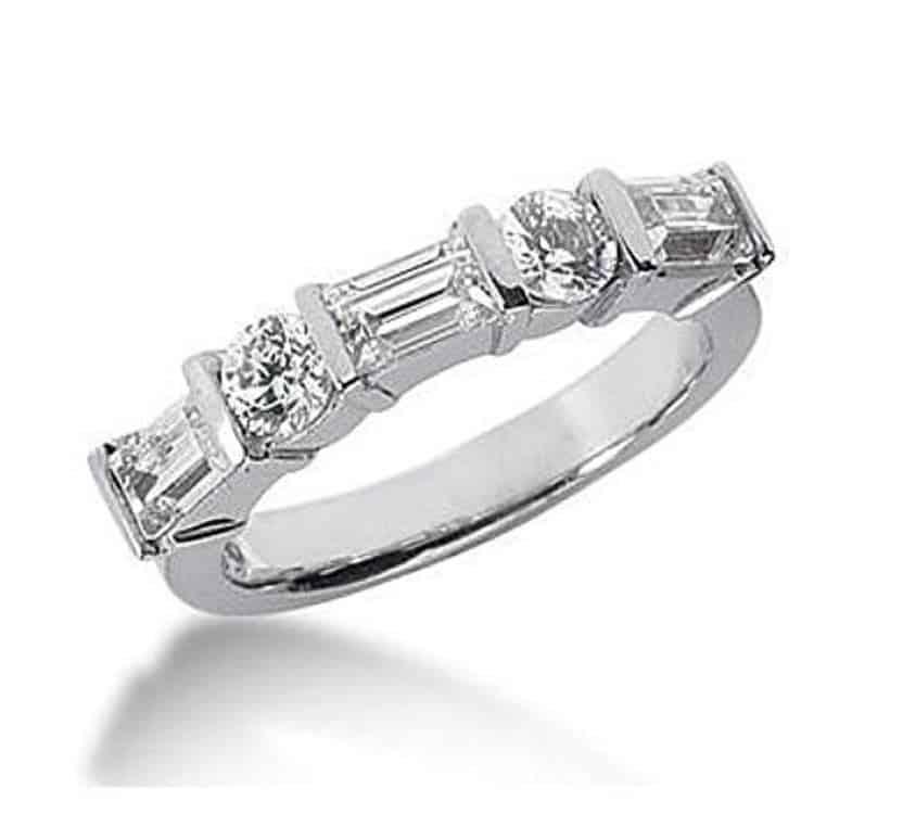 18K Gold Diamond Anniversary Wedding Ring 2 Round Brilliant Diamonds, 3 Emerald Cut Diamonds