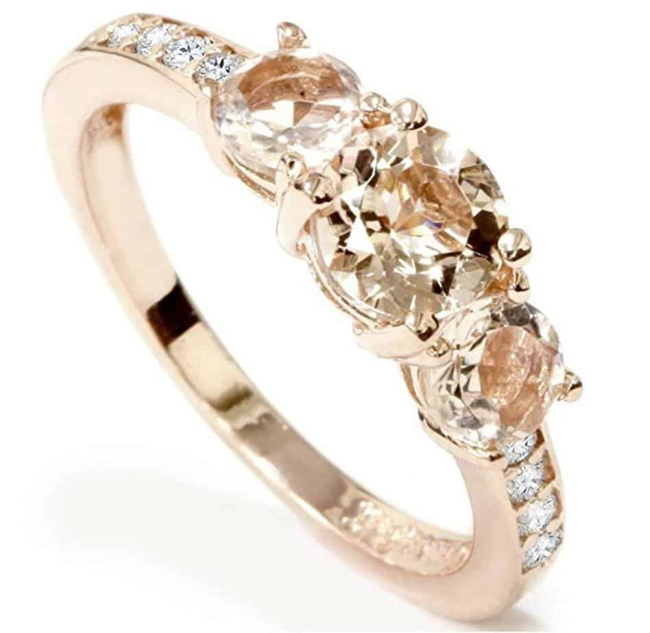 1ct Morganite Diamond 3stone Engagement Ring 10k Rose Gold