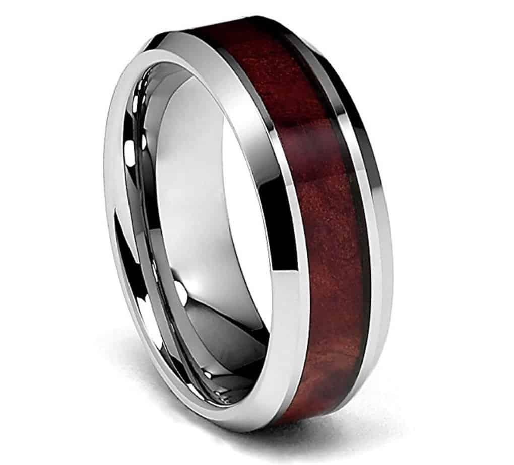 8mm Genuine Mahogany Wood Inlay Men's Tungsten Wedding Band