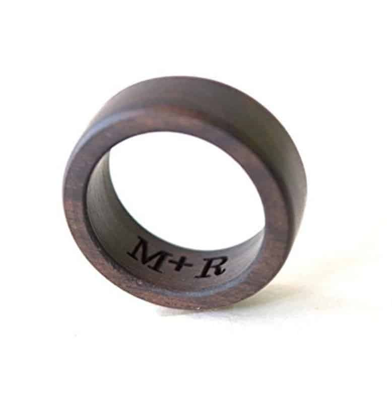 Ebony Wood Ring, Mens Wedding