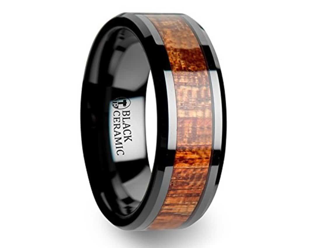 GABON Black Ceramic Band with Polished Bevels and Exotic Mahogany Hard Wood Inlay - 6 mm & 8 mm