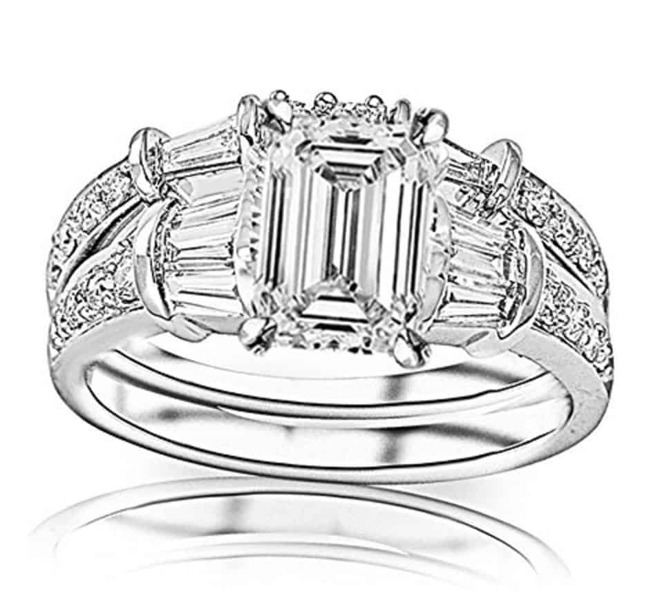GIA Certified Emerald Cut 14K White Gold Baguette And Round Brilliant Diamond Engagement Ring and Wedding Band Set