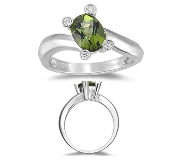 Green Tourmaline Ring - Diamond & Green Tourmaline Ring in 14K Gold