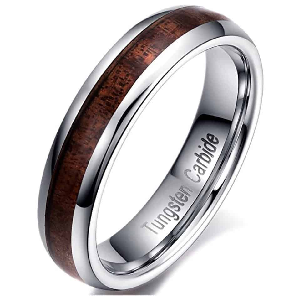 men women 5 mm tungsten carbide and acacia wood wedding ring - Wooden Wedding Rings For Men