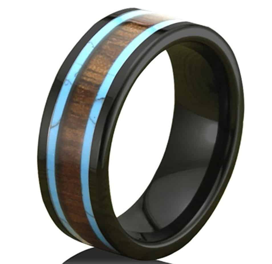 3 affordable turquoise and koa wood rings that simply glow
