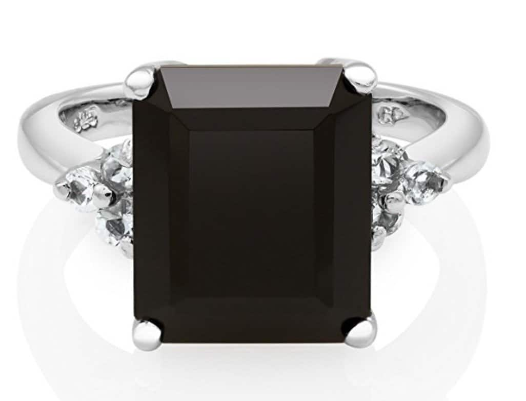 Sterling Silver Emerald Cut Black Onyx and White Topaz Ring