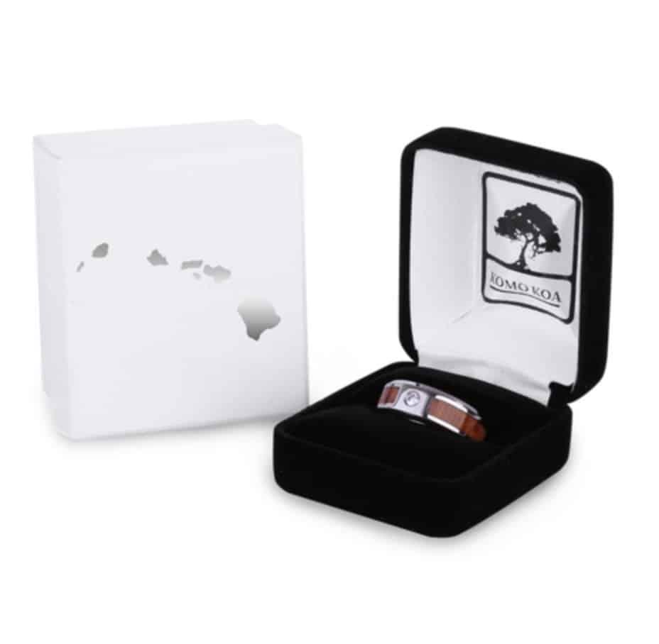 The Stone Men's Koa Wood Inlay Ring