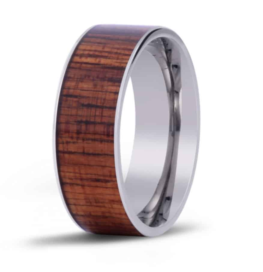 The Wide Koa Wood Inlay Ring
