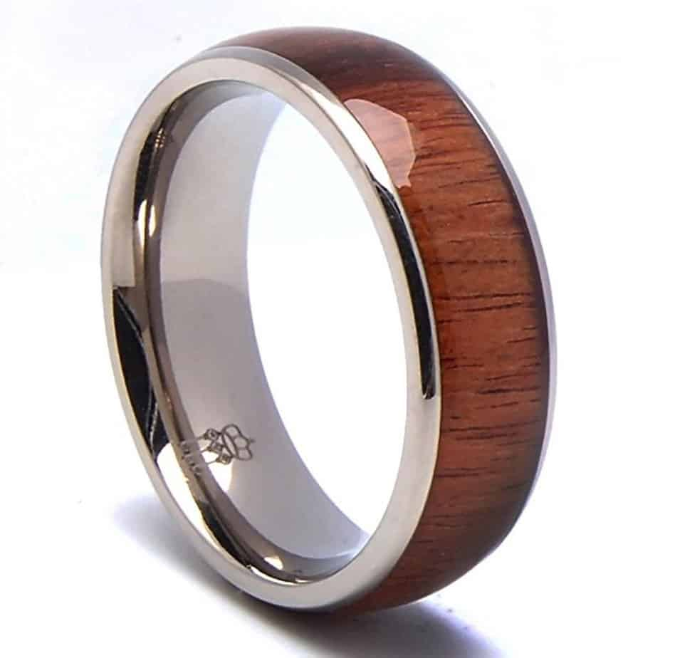 Three Keys Jewelry 8mm Titanium Ring Wedding Engagement Band Ring Silver with Santos Rosewood Wood Inlay