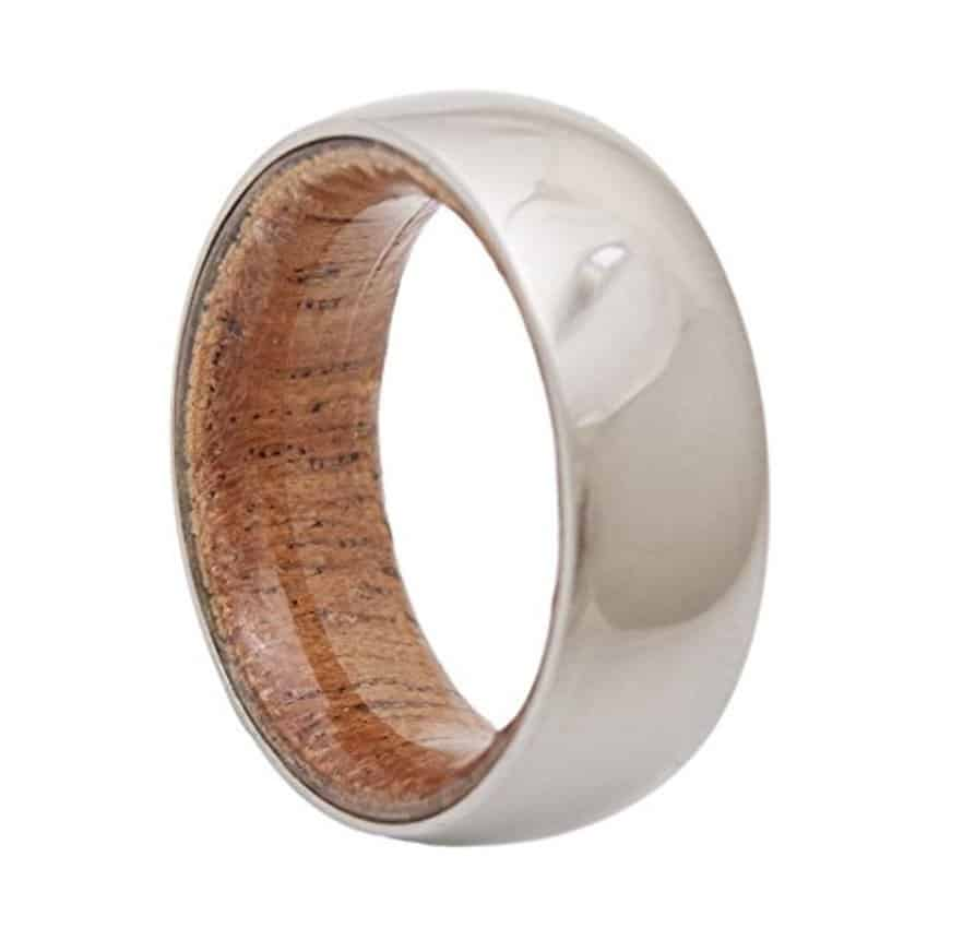 Wedding Band with Titanium and Mahogany Wood man woman ring jewelry