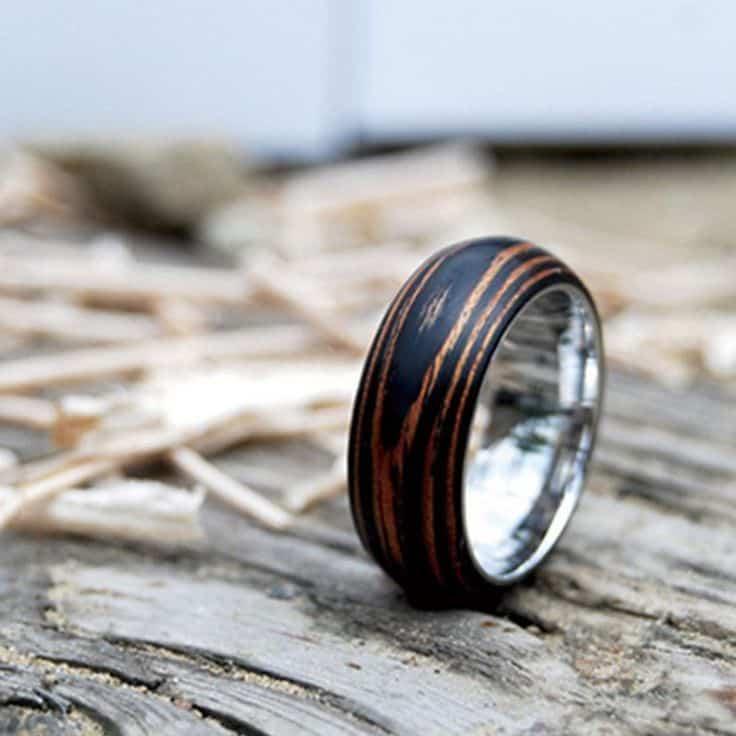 mahogany wooden wedding ring