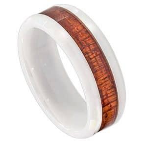 8mm High Polish Finish Hawaiian Koa Wood Inlay Beveled Edge White Ceramic Wedding Band