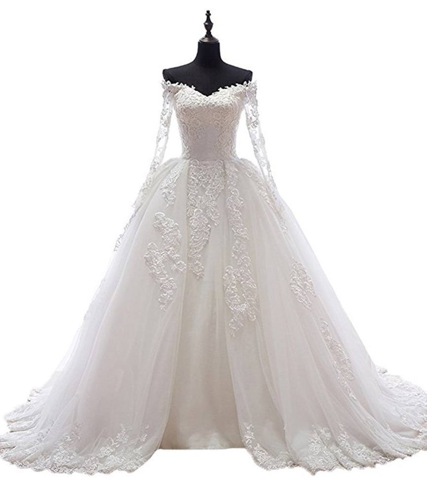 Beauty Bridal Boat Neck with Sleeves Long Train Sexy Wedding Dress for Bride