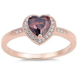 Sterling Silver Heart Halo Promise Ring