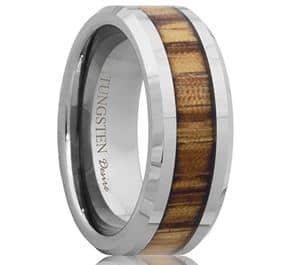Calgary Tungsten Inlay Zebra Wood Wedding Ring