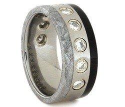 Charles & Colvard Moissanite, Gibeon Meteorite, African Blackwood 8mm Comfort-Fit Titanium Wedding Band