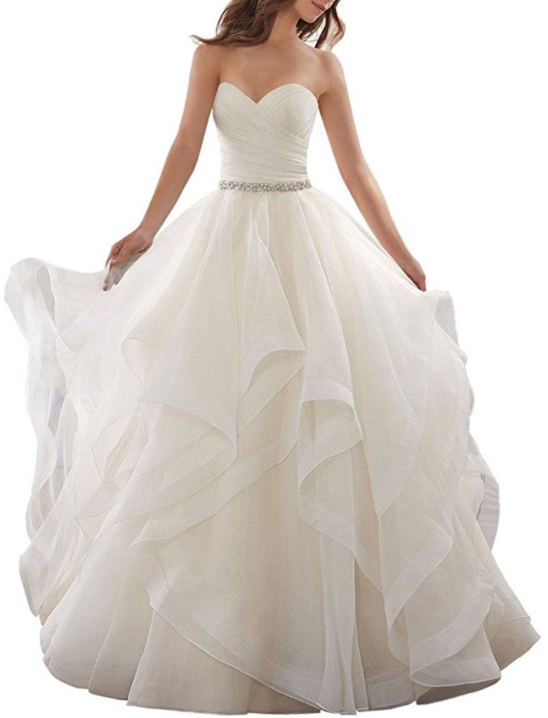 Dressylady Timeless Sweetheart Ruched Organza Ball Gown Wedding Dress review