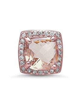 Halo Pendant Charm Cushion Cut Simulated Pink Morganite Round CZ Rose Gold Plated 925 Sterling Silver