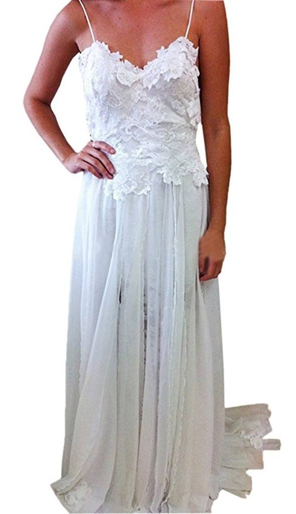 Heartgown Spagetti Chiffon Empire Backless Beach Wedding Dress