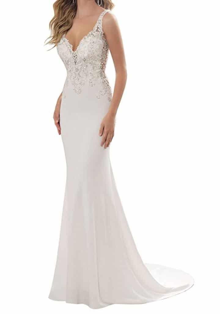 Mella Sheath V-neck Sleeveless Wedding Dresses for Bride 2017 review
