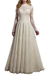 Mella Women's A-Line Long Sleeves Lace Wedding Dresses 2017 for Bride Women Formal review