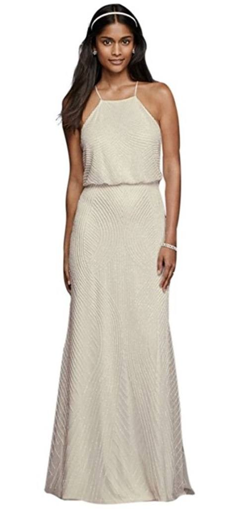 Novelty Halter Sheath Casual Wedding Dress with Beading Style review