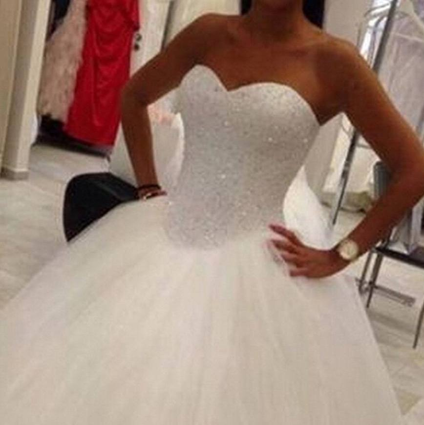 QueenBridal Beaded Sweetheart Lace Up Ball Gown Evening Wedding Dress 2016