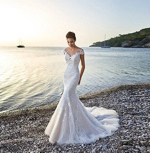 Romanticdresses Beautiful Muslim Wedding Dresses Lace Long Sleeves Sheath Round Neck review