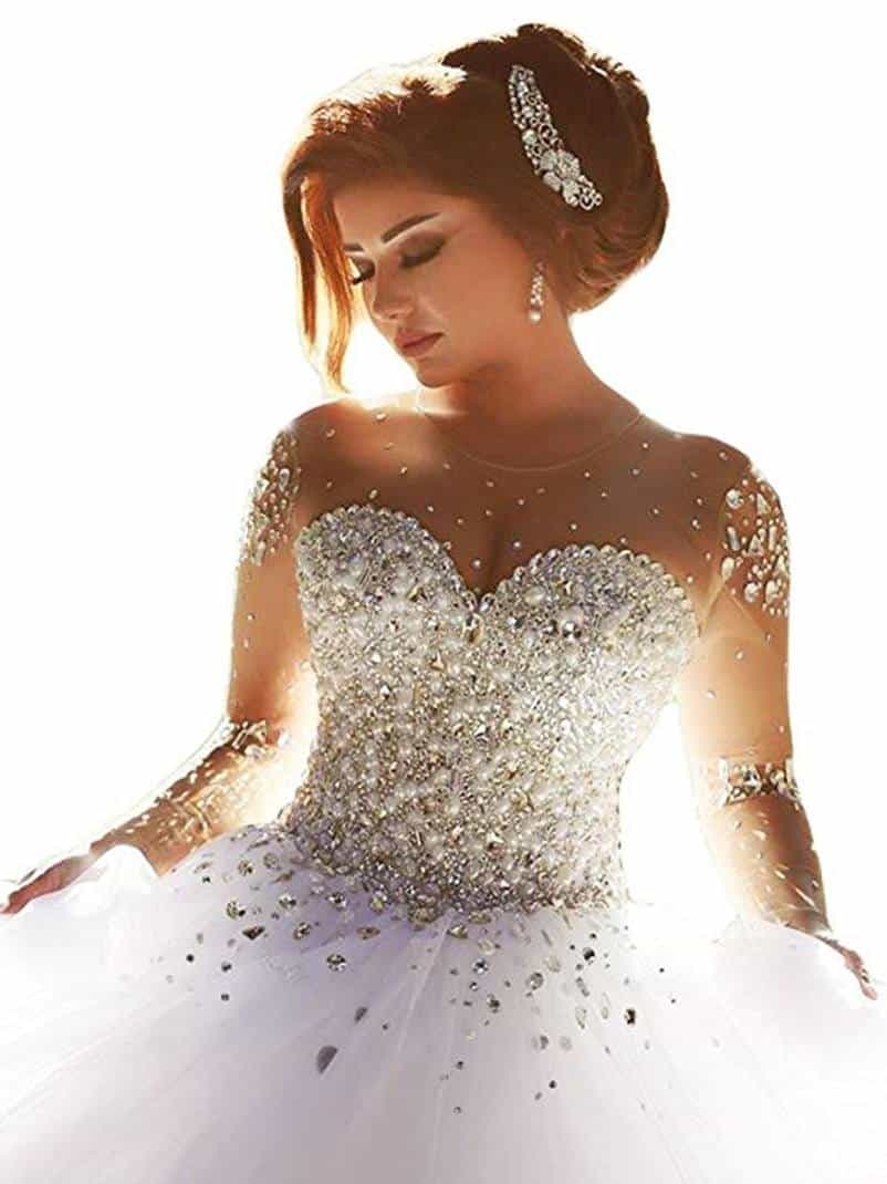 Gorgeous Wedding Dresses Pearls Beading Long Sleeves Princess Bridal Ball Gown