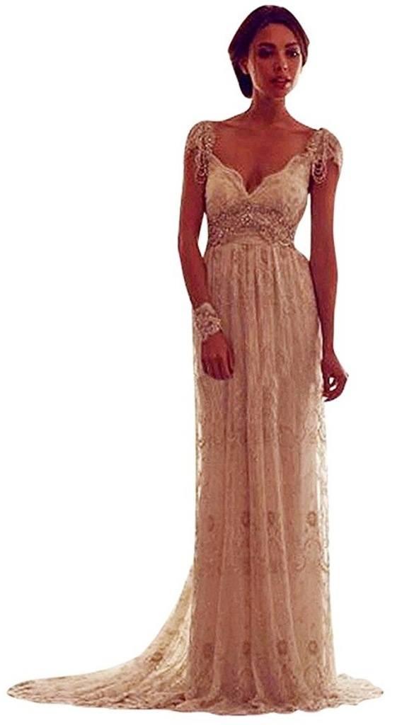 VERNASSA Elegant V-neck Backless Lace Wedding Dresses with Cap Sleeves