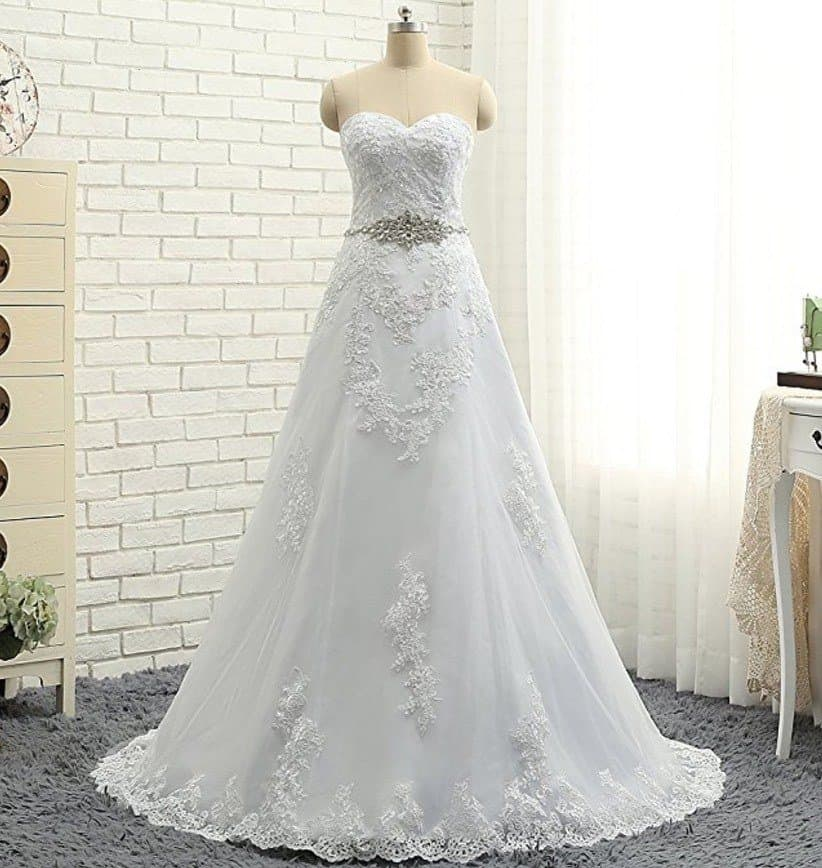 Vickyben Strapless a Line Wedding Dress 2017 Long Sleeveless Bridal Gown review