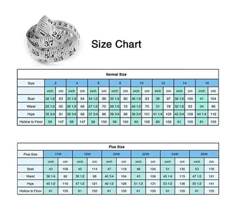 YIPEISHA wedding dress size chart
