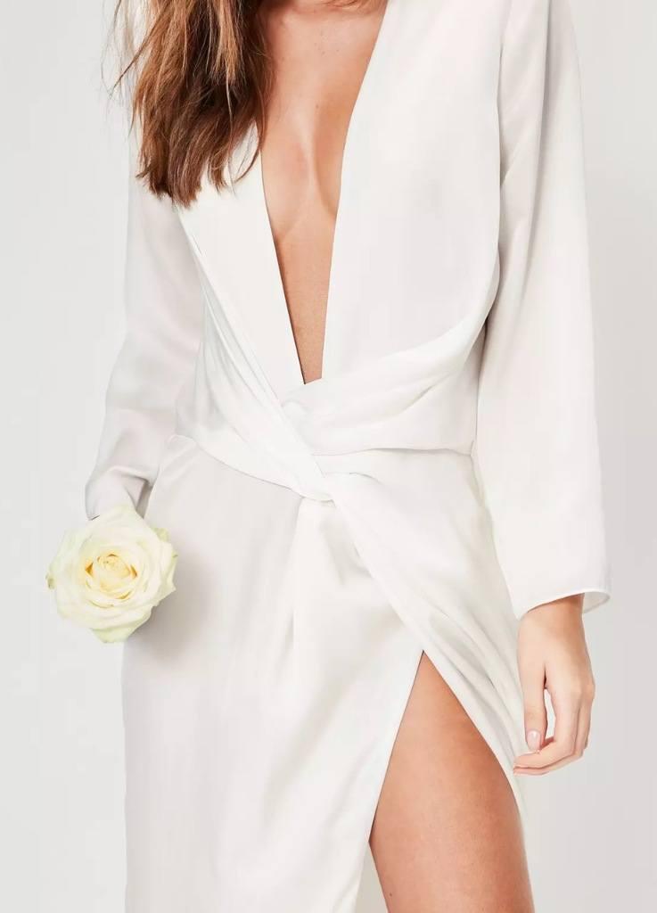 bridal white kimono sleeve twist front maxi dress