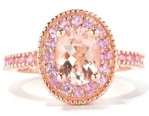 rose gold pink gemstone ring for women