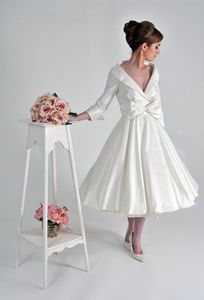 50's style short wedding dress