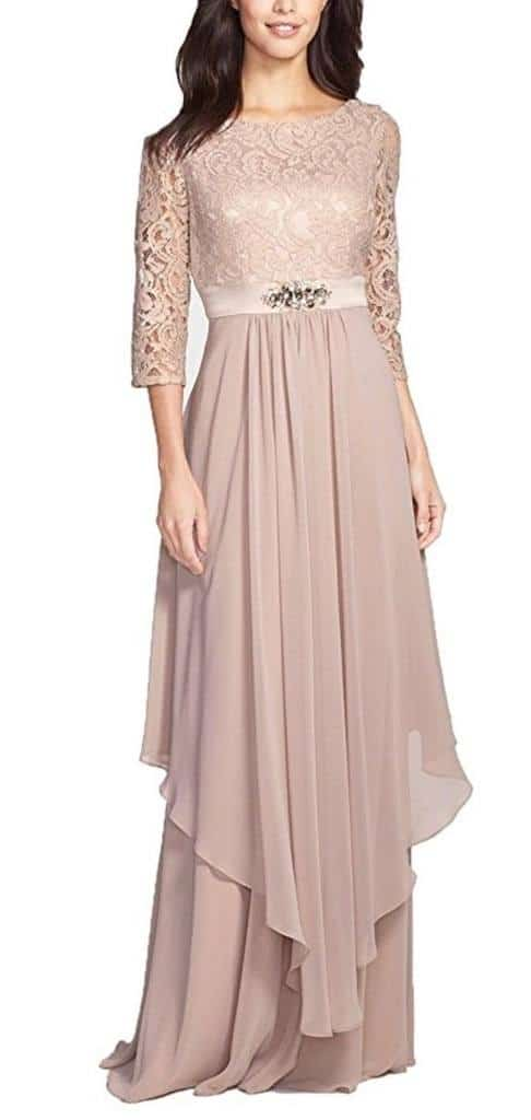 Fancygowns Women's Long Chiffon Mother Of The Bride Evening Dress With Sleeve