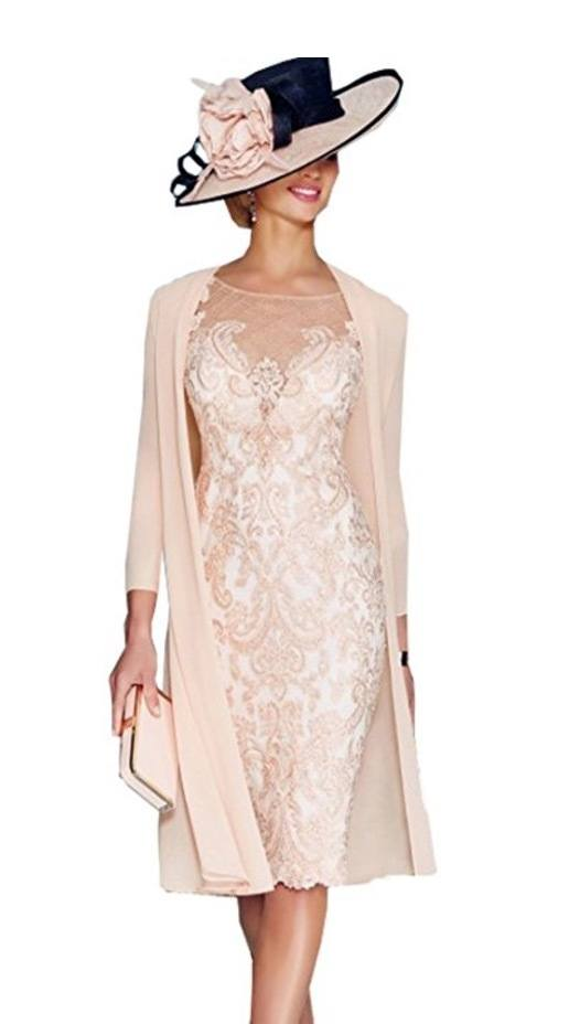 Fenghuavip 2 pcs Round Neck Light Pink Chiffon Lace Bridal Mother Dress