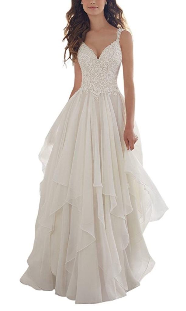 Holygift Women's A-Line V-Neck Strap Tulle Appliques Princess Spring Chiffon Beach Wedding Dress