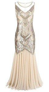 Kayamiya Women's 1920s Beaded Sequin Geometric Pattern Maxi Long Gatsby Flapper Prom Dress