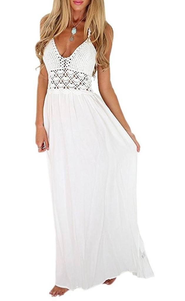 LILBETTER Women's Beach Crochet Backless Bohemian Halter Maxi Long Dress