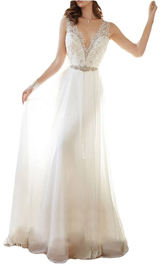 OYISHA Women's V-neck Lace Beach Wedding Dress Chiffon Beaded Bridal Gown 90WD